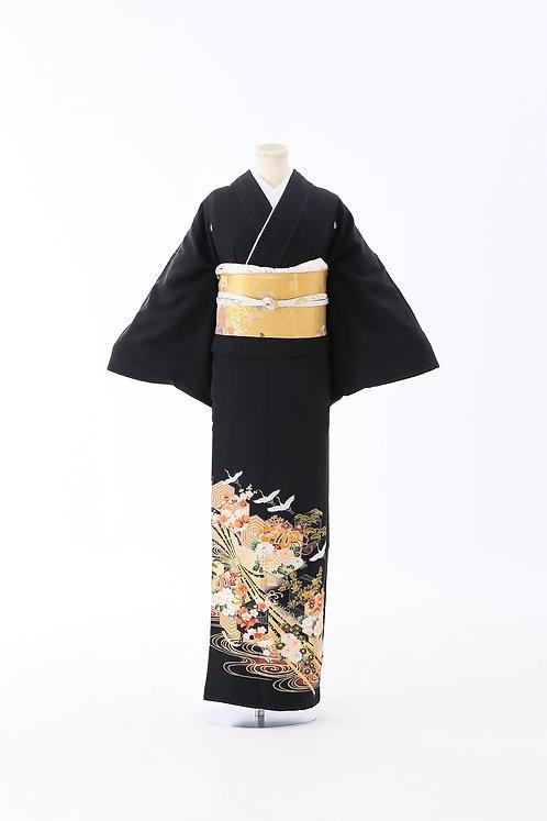 鶴と花と松 T-15