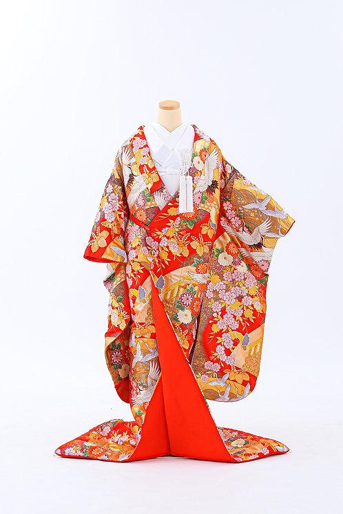 鶴と花と檜扇 E-15