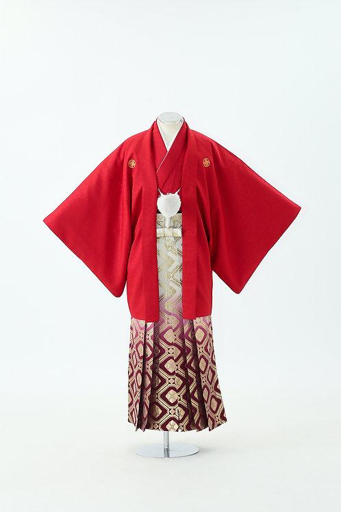 赤紋付と花菱グラデーション袴 HH-18