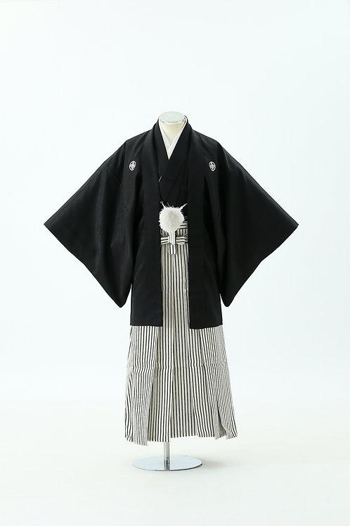 黒紋付と縦縞袴 HH-19
