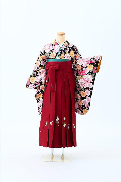 大花と赤袴に花の刺繍 SH-09