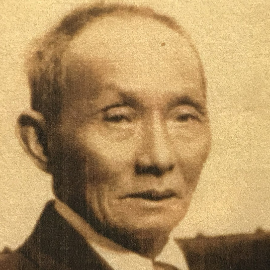 """Chau Chu Taai or Chow Tie,  butcher  at the camp known as """"Tie and Sons"""".  Photo taken in August 1929 before he left for China.   Aged 83 years, he died January 1, 1930 at his home village, Nan Chuen, China."""