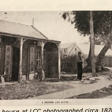 Joss House circa 1870's, note lamp post  with gas  light
