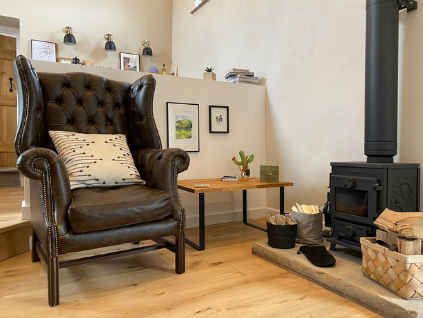 Comfy Leather Chair and Stove