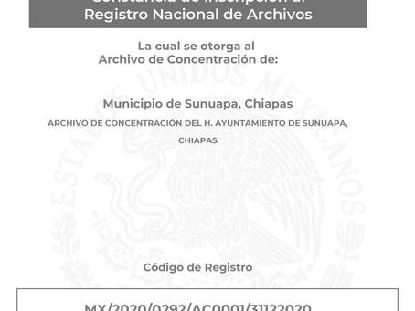H. Ayuntamiento de Sunuapa recibe registro ante el Archivo General de la Nación