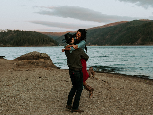 Sunset Engagement Session on Lake Coeur d'Alene at Higgins Point in CDA Idaho