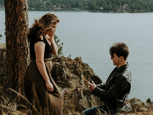 Surprise Proposal and Picnic on Cliff | Hayden Lake Idaho