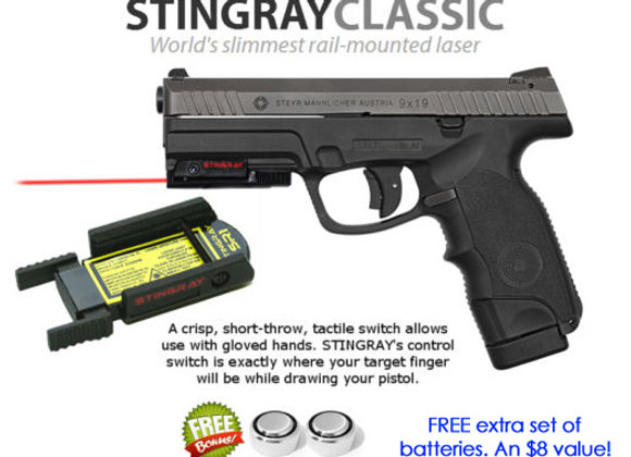 ArmaLaser Stingray RED LASER for Steyr Guns with Rails: Steyr L-A1, M-A1
