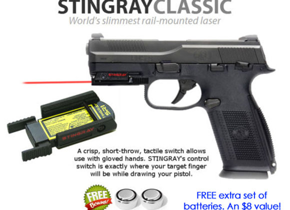 ArmaLaser Stingray RED LASER for FN Guns with Rails: Five-seveN, FNS, FNX