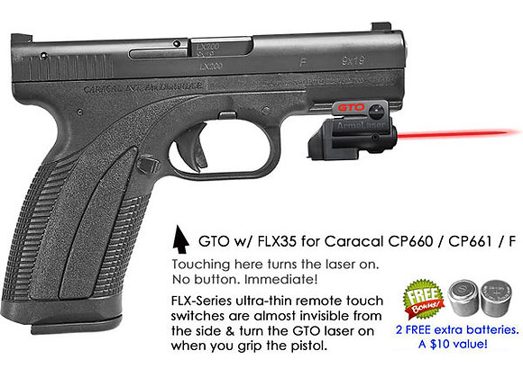 ArmaLaser GTO Red Laser Sight with Flex Touch Activation for Caracal Pistols