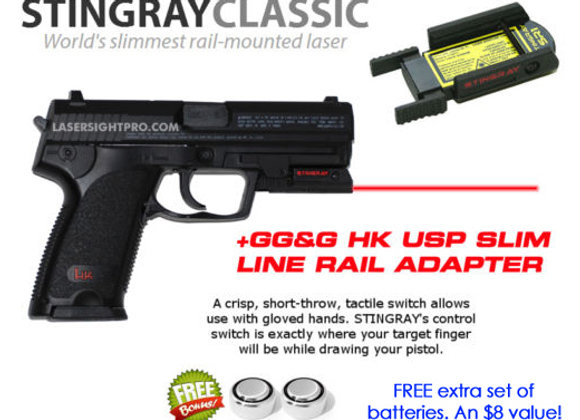 ArmaLaser Stingray RED LASER Sight with GG&G Rail Adapter for HK H&K USP Pistols