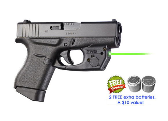 TR5-G Green Laser Sight for Glock 42, 43, 43X (not MOS), 48 w/ Touch Activation