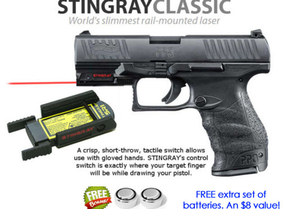 ArmaLaser Stingray RED LASER for Walther Guns w/ rails: PPQ M2, PPX, Creed