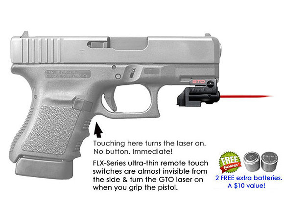 ArmaLaser GTO Red Laser Sight with Flex Touch Activation for Glock Pistols