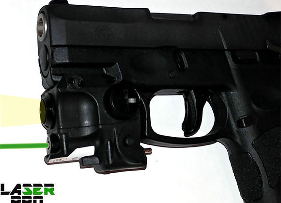 Green Laser Sight with LED Light for Pistols w/a Rail - Rechargeable Battery
