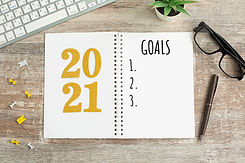 New Year goals List 2021 with notebook w