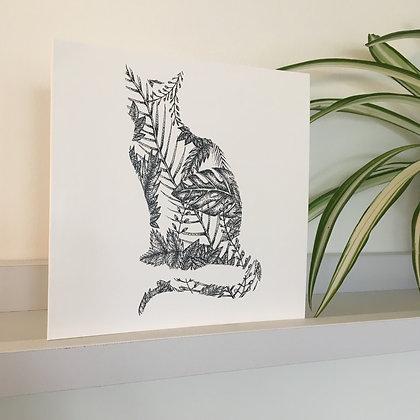 Cat Leaf Greetings Card