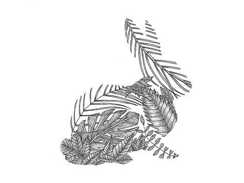 Rabbit Leaf Postcard