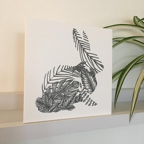 Rabbit Leaf Greetings Card