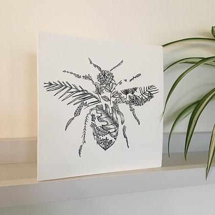 Bee Leaf Greetings Card