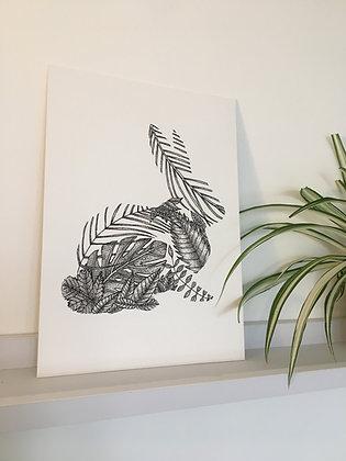 Rabbit Leaf A4 Print