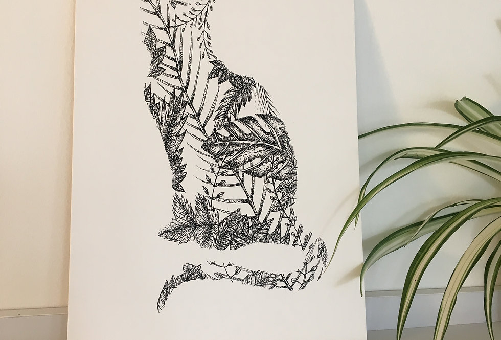 Cat Leaf A4 Print