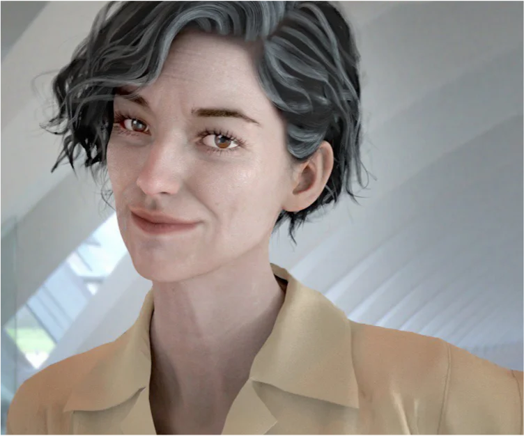 A 3D rendering of Sylvia, the first aging virtual influencer, with graying hair