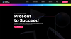 Website thumbnail of an online presentation conference for business professionals. A rainbow gradient strip and white text over a black background cover the homepage.
