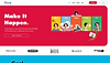 Website thumbnail of an online project management tool. White text and a colorful calendar image over a red background cover the homepage.