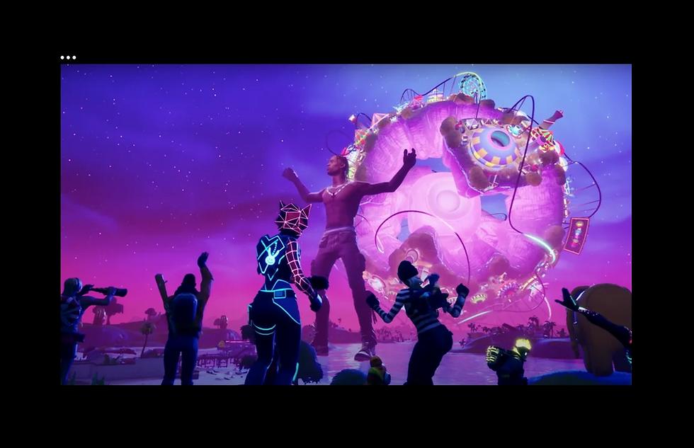 A screenshot of Travis Scott's Fortnite concert, Astronomical