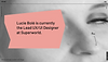 Website thumbnail of Lucie Bole's UX/UI designer portfolio. A blurry, close-up image of a face and black text cover the homepage.