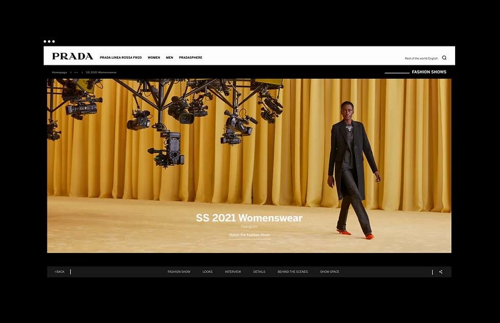 A screenshot of the SS 2021 Fashion Show on the Prada website