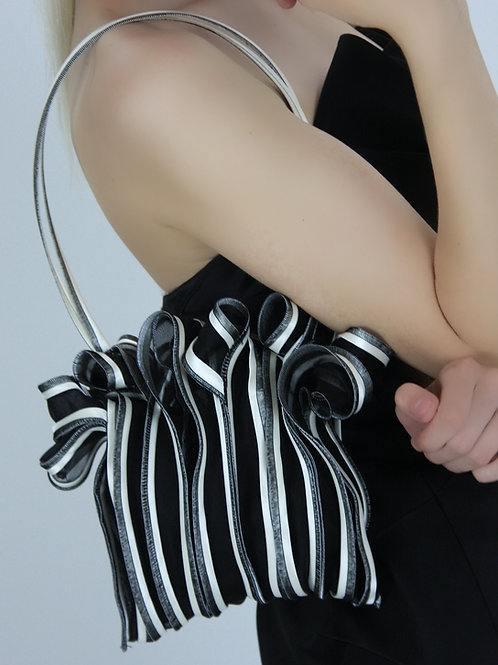 black and white sculptural womens evening bag