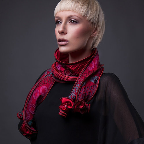 red long handmade scarf accessory