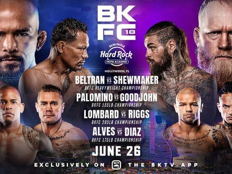 Four world titles on the line at BKFC 18 on Saturday, June 26 from Seminole Hard Rock Hotel & Casino