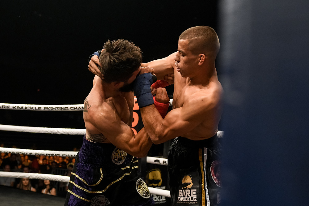 Travis Thompson (left) vs. Abdiel Velazquez (right) - BKFC 6 - Photo by Phil Lamber for Bare Knuckle Fighting Championship
