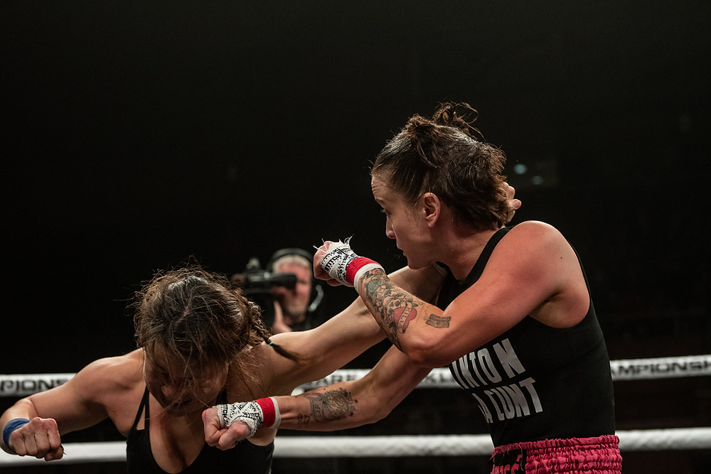 Sheena Starr (right) - BKFC 5 - Photo by Phil Lambert for Bare Knuckle Fighting Championship