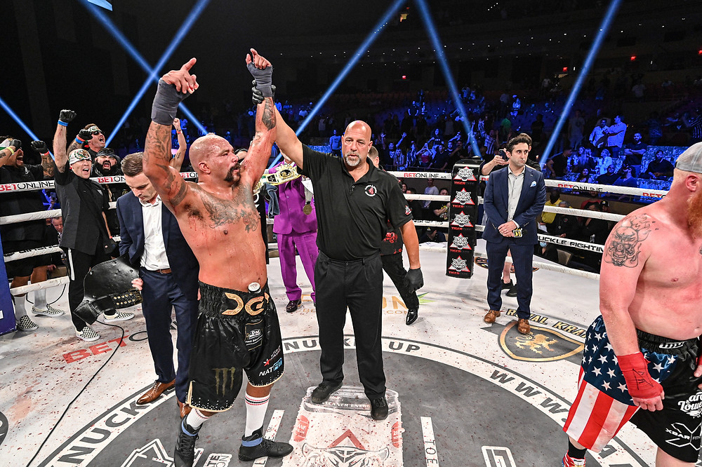 Joey Beltran defeats Sam Shewmaker in the BKFC 18 main event on June 26 - Photo by Phil Lambert for Bare Knuckle FC