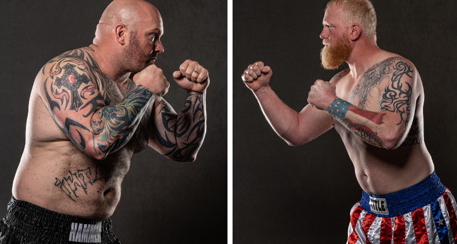 Josh Burns (left) and Sam Shewmaker (right) - Studio photos by Phil Lambert for Bare Knuckle FC