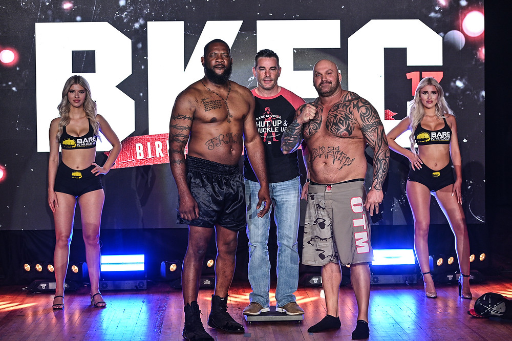 Frank Tate and Josh Burns weigh in for BKFC 17 headliner.  Photo by Phil Lambert for Bare Knuckle FC