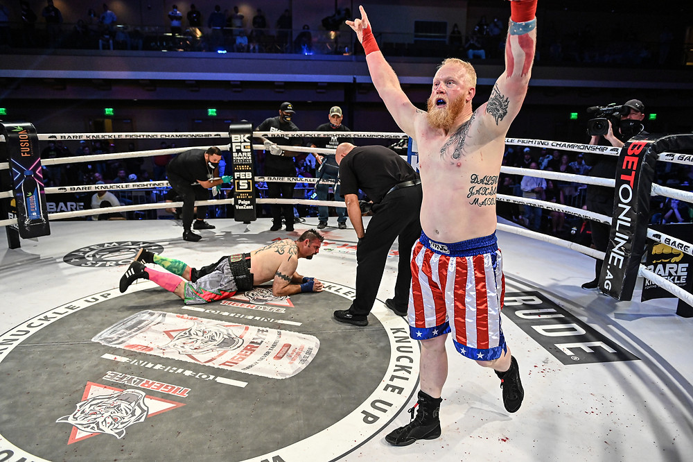 Sam Shewmaker walks away victorious after defeating Bobo O'Bannon at BKFC 15 - Photo by Phil Lambert for Bare Knuckle FC