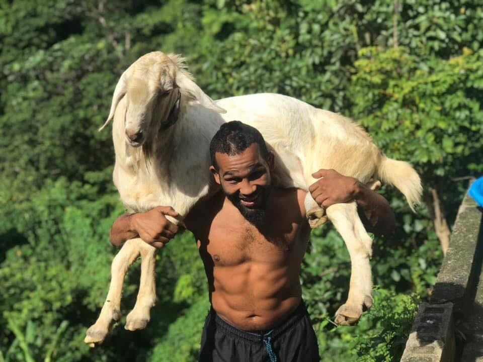 "Elvin Brito carries ""Poncho"" the Goat training for BKFC 16"