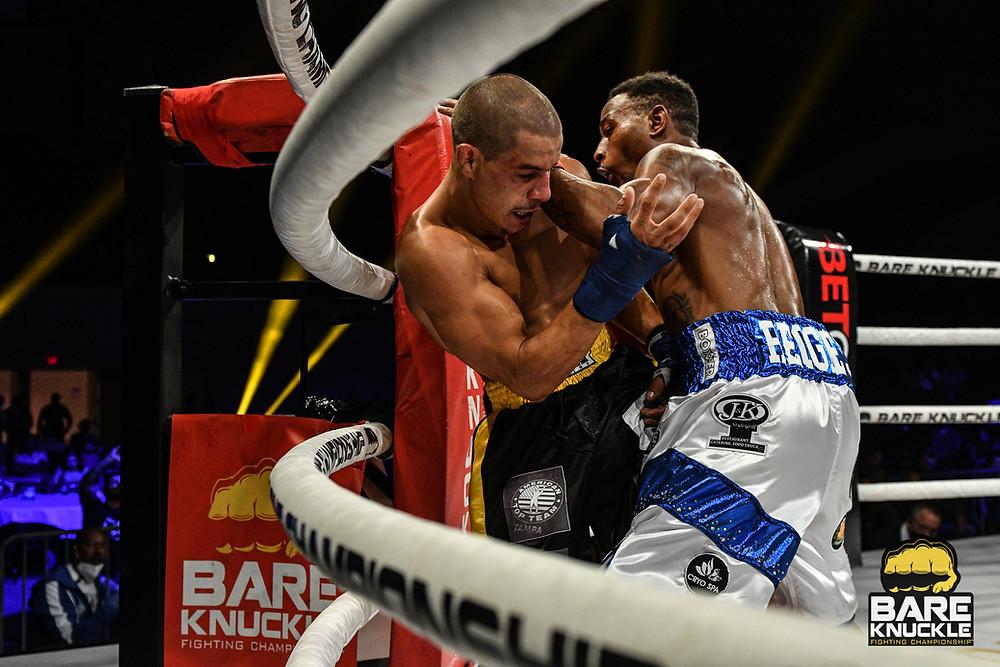 Reggie Barnett Jr. (right) vs. Abdiel Velazquez at BKFC 12 - Photo by Phil Lambert for Bare Knuckle Fighting Championship