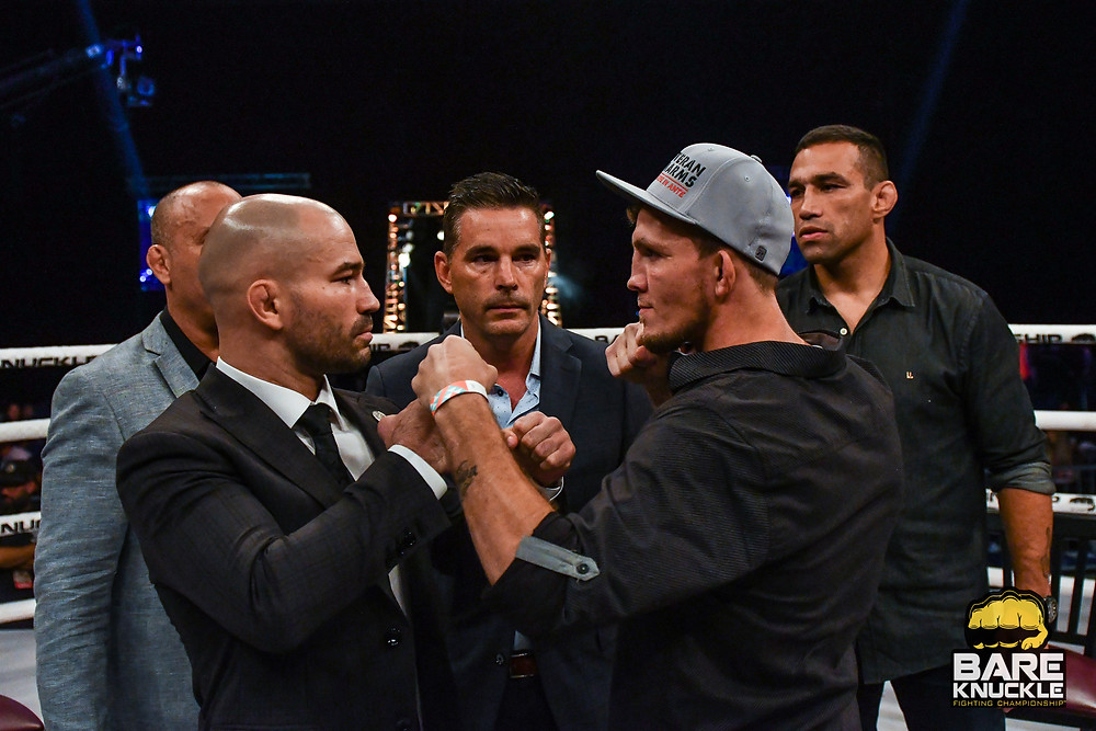 Artem Lobov and Jason Knight square up before BKFC 8 on Saturday, October 19, 2019 - They continue their epic battle at BKFC 9 on November 16 - Photo by Phil Lambert