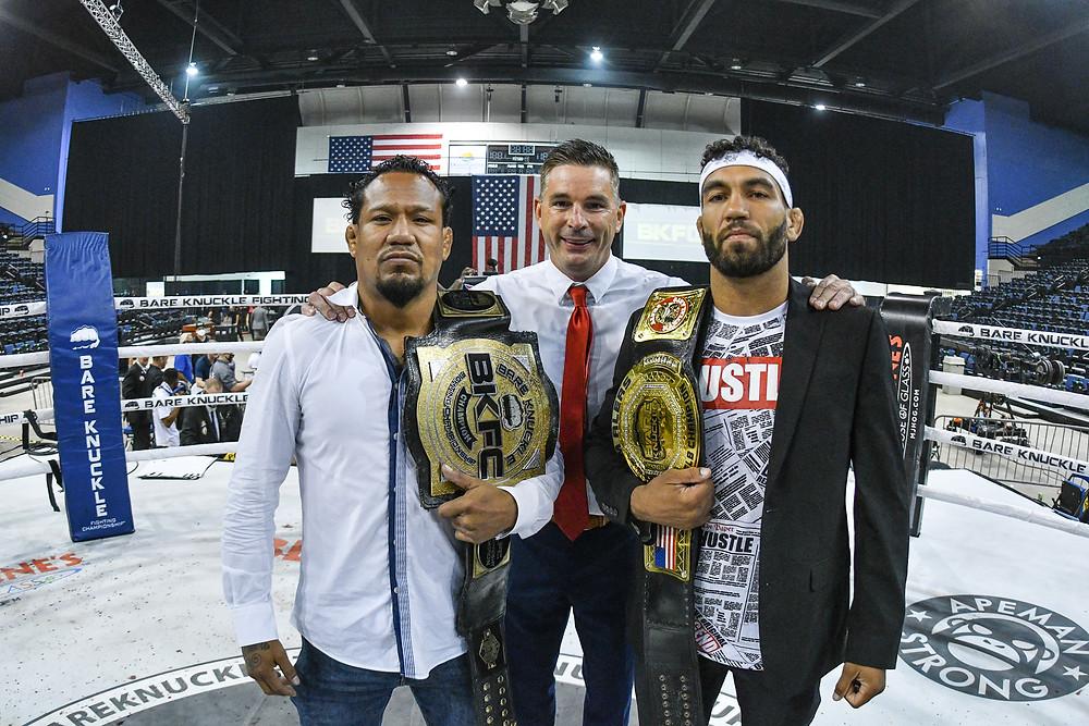 Luis Palomino (left), BKFC President David Feldman (center), and Jim Alers (right) - Photo by Phil Lambert for BKFC