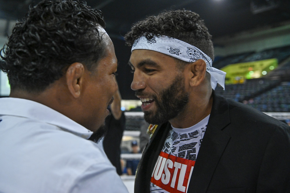 Luis Palomino (left) and Jim Alers (right) confront one another prior to BKFC 12 - Photo by Phil Lambert for BKFC