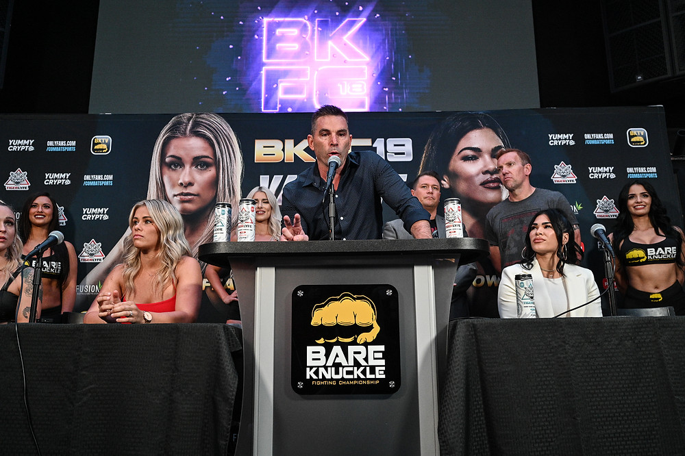Paige VanZant and Rachael Ostovich at BKFC 18 presser for BKFC 19 - Photo by Phil Lambert for Bare Knuckle FC