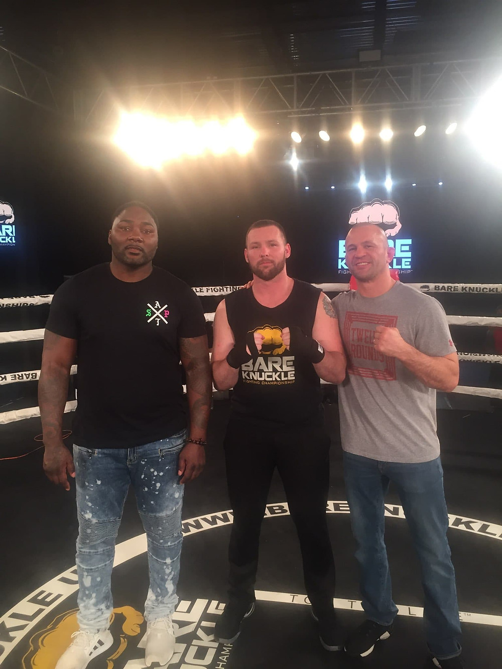 Ryan Jones (center) with Anthony Johnson (left) and Chris Lytle (right) at the BKFC tryouts in Philadelphia