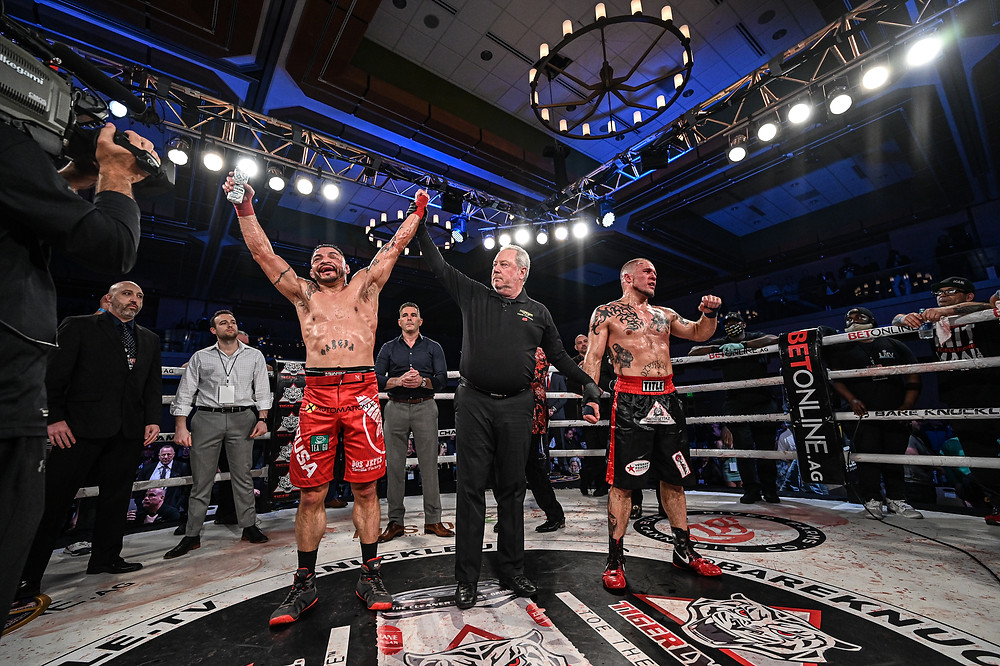 Leonard Garcia is victorious over Joe Elmore in the BKFC 16 main event - Photo by Phil Lambert for Bare Knuckle FC