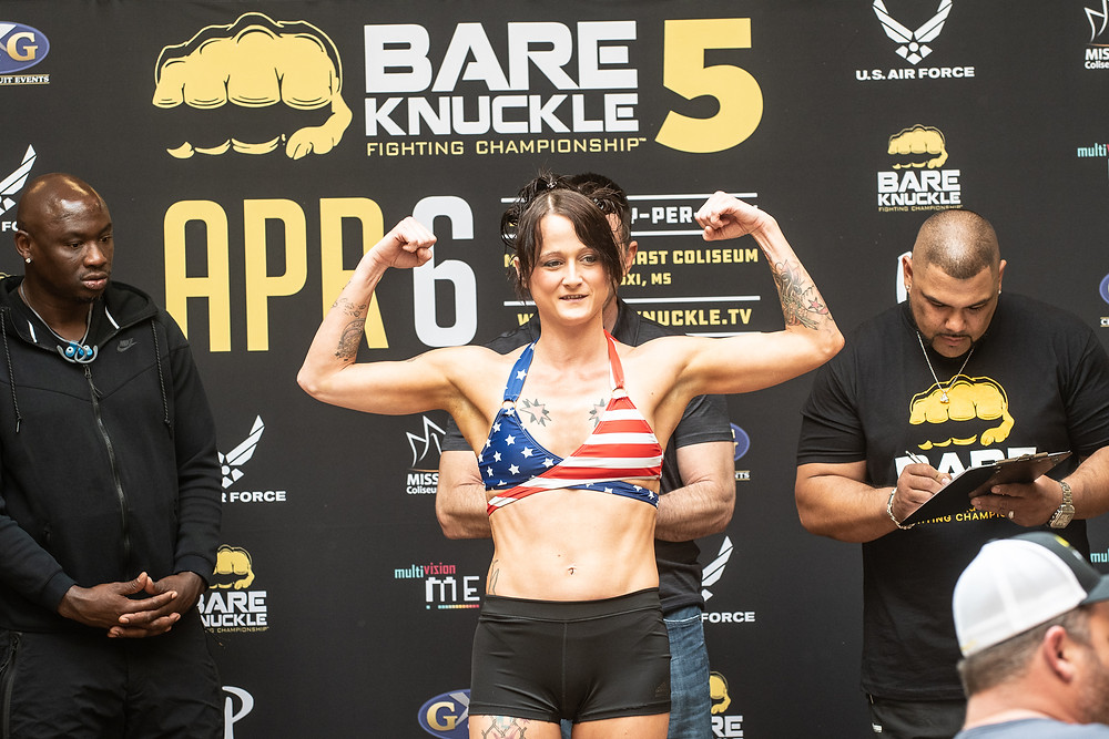 Sheena Starr weighs in for BKFC 5 - Photo by Phil Lambert for Bare Knuckle Fighting Championship